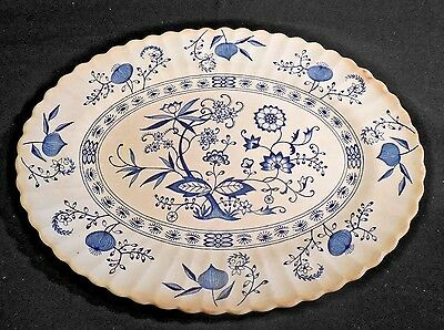 Blue Nordic Platter By Meakin  Staffordshire Classic White Genuine Hand Engrving