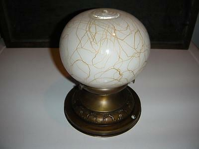 Vintage Art Glass Dome Light Fixture White With Gold Veining