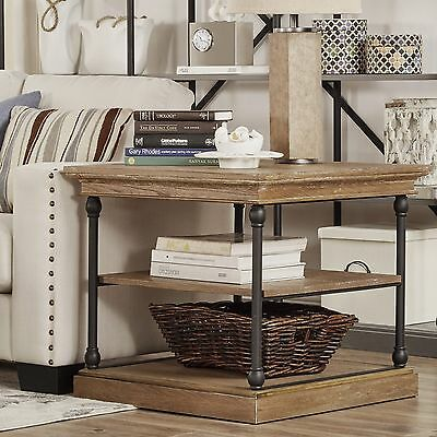 Rustic End Table Accent Brown Side Wood Modern Industrial Metal Contemporary New