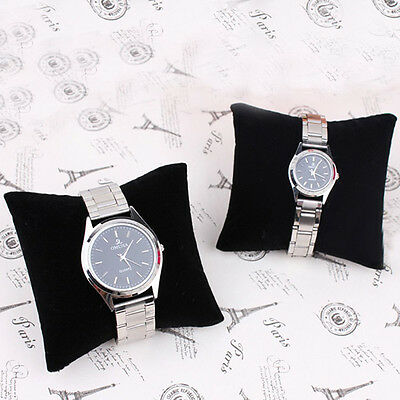 5 Pcs Black Velvet Leather Bracelet Watch Pillow for Box Case Jewelry Display