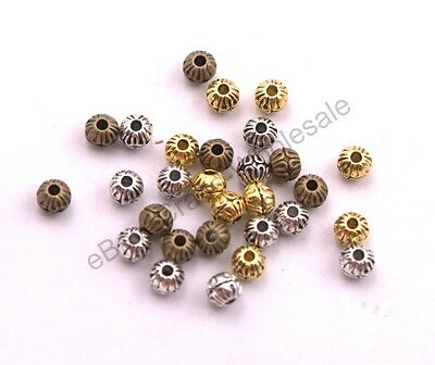 50/100Pcs Charm Silver/Gold/Bronze Round Spacer Beads Jewelry Finding 6MM CA3024