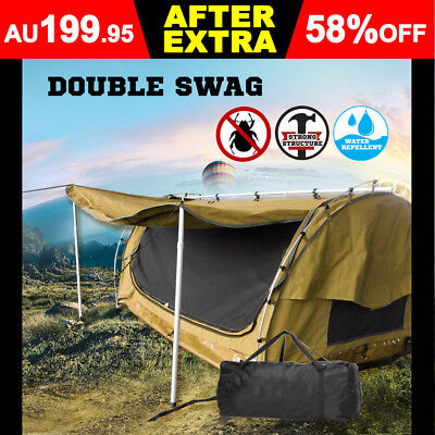 Double Canvas Swag Camping Tent Swags Deluxe Aluminum Poles Pillow Bag +BBQ