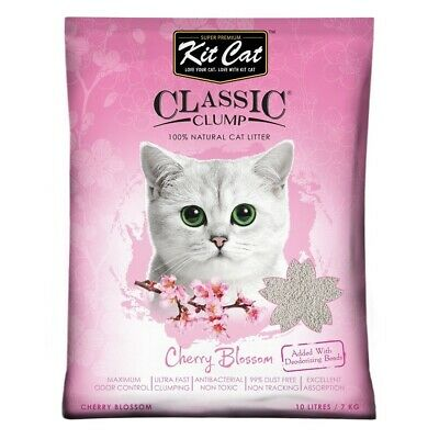 "Kit Cat ""Sakura"" Cherry Blossom Ultra Clumping Bentonite Clay litter 10 litres"