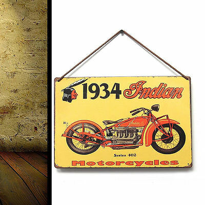 1934 Indian Motorcycles' Vintage Metal Tin Sign Bar Pub Home Wall Plaque Decor