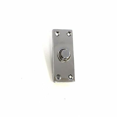 Solid Polished Chrome Victorian Door Bell Chime Push Button Press - 30mm x 80mm