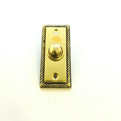 Solid Polished Brass Georgian Door Bell Chime Push Button Press - 35mm x 78mm