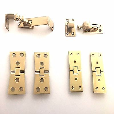 Solid Polished Brass Counterflap Bartop Worktop Shop Counter Catch and Hinges