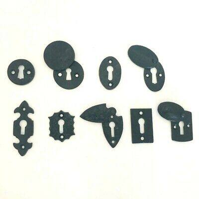 Black Antique Iron Oval / Fleur-De-Lys / Round Door Lock Keyhole Cover Plates