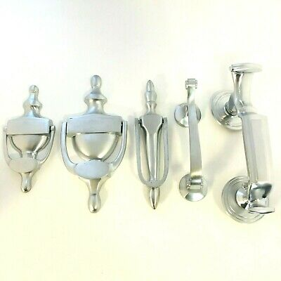 "Satin Chrome Urn Door Knockers Victorian Style 6"" 152mm"