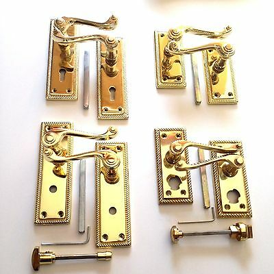 Polished Brass Georgian Style Door Handles Lever Lock, Latch, Bathroom, Privacy