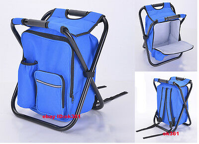 Portable Folding Outdoor Hiking Backpack Beach Fishing Chair & Storage Cool Bag