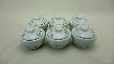 6 X Beautiful Trinket Jars,ceramic, Floral Design, Butterfly On Lid, Candle Make