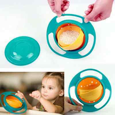 Non Spill Feeding Toddler Gyro Bowl 360 Rotate w/ Lid Baby Kid Avoid Food Spill