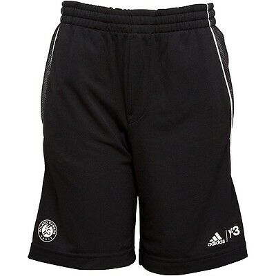 R Adidas Y3 Boy's Roland Garros Tennis Shorts Sport Fashion Black White Y-3