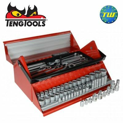 "Teng TC187 187pc Mega Rosso Tool Kit in 1/4 3/8 1/2"" Set in Cantilever Tool Box"