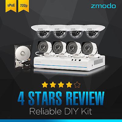 Zmodo 8CH NVR (8) 720P Network IR Camera Home Surveillance System 1TB HDD