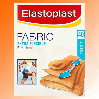 Extra Flexible Breathable Fabric Plasters Elastoplast Pack of 40