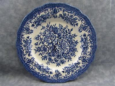 "Avondale Blue by Meakin, J & G 10-1/2"" Dinner Plate Allover Blue Floral & Scroll"