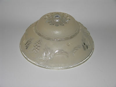 Vintage Art Deco Frosted Tan 3 Hole Glass Grape Design Ceiling Fixture Shade