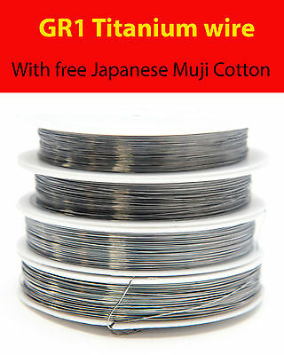 Titanium Gr1 resistance wire for RDA RBA 22 - 32 AWG rebuildable 2,5,10 and 25m