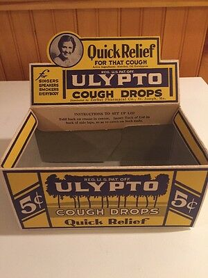 Vintage ULYPTO Cough Drops Drug General Store Counter Display Box, NOS Unopened