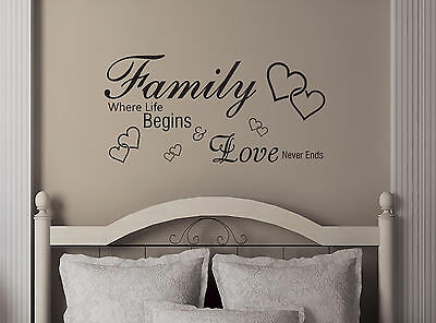 Family Where Life Begins-Quote-Vinyl-Decal-Art-Wall-Stickers-Home-Room-Decor