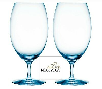 Rogaska PURE ICE BLUE ICED TEA, Handcrafted Crystal in Slovenia - Set of two