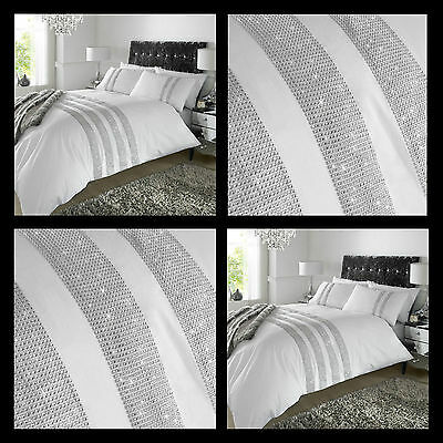 "LUXURY  ""DIAMANTE"" WHITE DUVET SET. Inc DUVET COVER  & 2 PILLOW CASES. FREE P&P"
