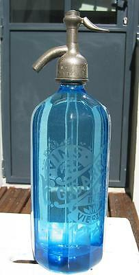 FRENCH SELTZER BOTTLE BLUE with STRAIGHT LINES AND STRAIGHT FACES
