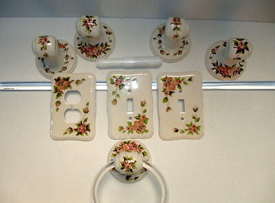 Vintage Vee Jackson Matching Porcelain Floral Flower Bathroom Fixture Lot