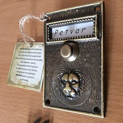 Very Rare Solid Antique Brass Doorbell Push Button with Bas Relief Lion Head
