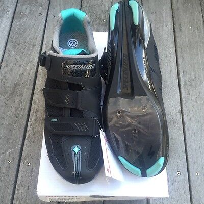 NIB Specialized Women's Torch Road Shoes Size 38.5 EU, 7.5 US Black/Teal 3 Bolt