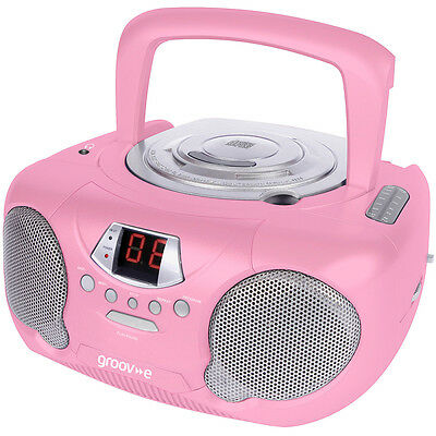 GROOV-E GVPS713PK Boombox Portable CD Player with Radio - Pink