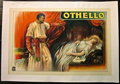Cut 40!!  Othello 1920's Lb Theatre Poster- Standing Over Desdemona With Dagger!