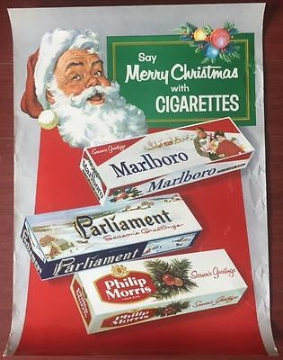Cut 100!! Say Merry Christmas With Cigarettes -1950's Advertising Poster - Fun!