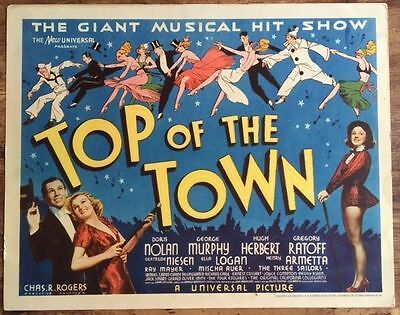 Top Of The Town - Original 1937 Title Card Poster - George Murphy Party Art!