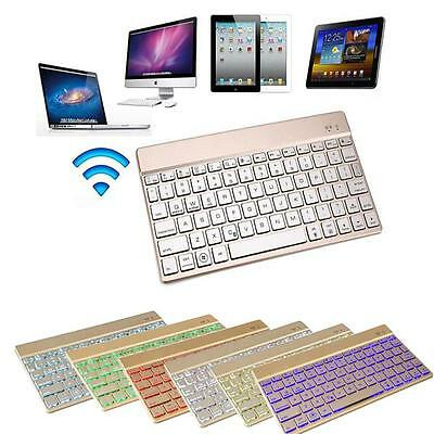 New Slim Wireless Bluetooth Keyboard 7 Color Backlit Aluminum for Tablet U1X4