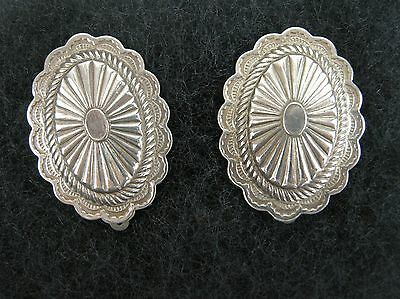 Vintage Sterling Silver Earrings Oval Southwestern Navajo Style Concho Clip-On