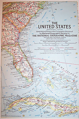 """Vintage 1961 National Geographic Map-United States-25"""" w  x 19"""" t-GREAT Cond"""