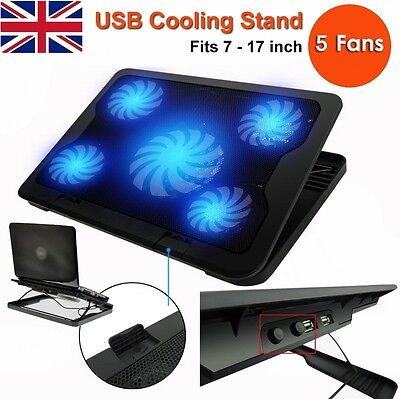 "5 Fans USB Laptop Cooler Mat Stand Tilt For 12"" 15.4"" 15.6"" 17"" inch Cooling Pad"