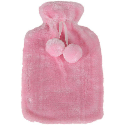 Hot Water Bottle With Soft Plush Faux Fur Pink Cover - Great Christmas Gift