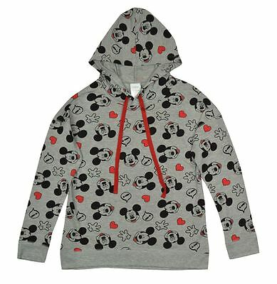 New Disney For Girl Hooded Lightweight Sweatshirt Mickey Mouse Face Allover Grey