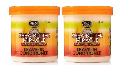 2 X African Pride Shea Butter Moisture Intense Miracle Leave in Conditioner 425g