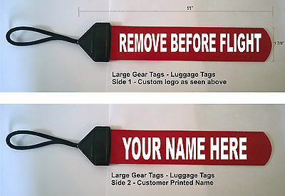 Red Large Custom Printed Gear Tag REMOVE BEFORE FLIGHT Bag luggage Duffel