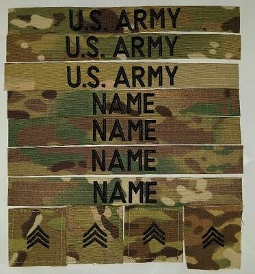 ocp U.S. Army  Scorpion NAME TAPES AND RANKS WITH HOOK FASTENER 11-piece Set