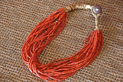 Old Red Coral & Red Beaded African Tribal Necklace …thought to be Masai