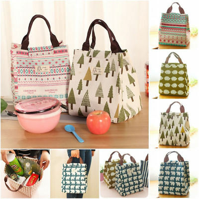 Linen Portable Meal Insulated Thermal Cooler Lunch Box Carry Tote Storage Bag