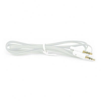 1m 3ft Flat Noodle Stereo Headphone Audio Jack Plug Extension Cable For Phones