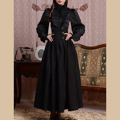 VINTAGE Abend-Kleid Lolita Gothic Goth Shirt RETRO Rock Lace Royal Mantel Bluse