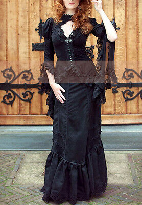 VINTAGE Abend-Kleid Lolita Gothic Shirt RETRO Rock Lace Royal Mantel Bluse Rock